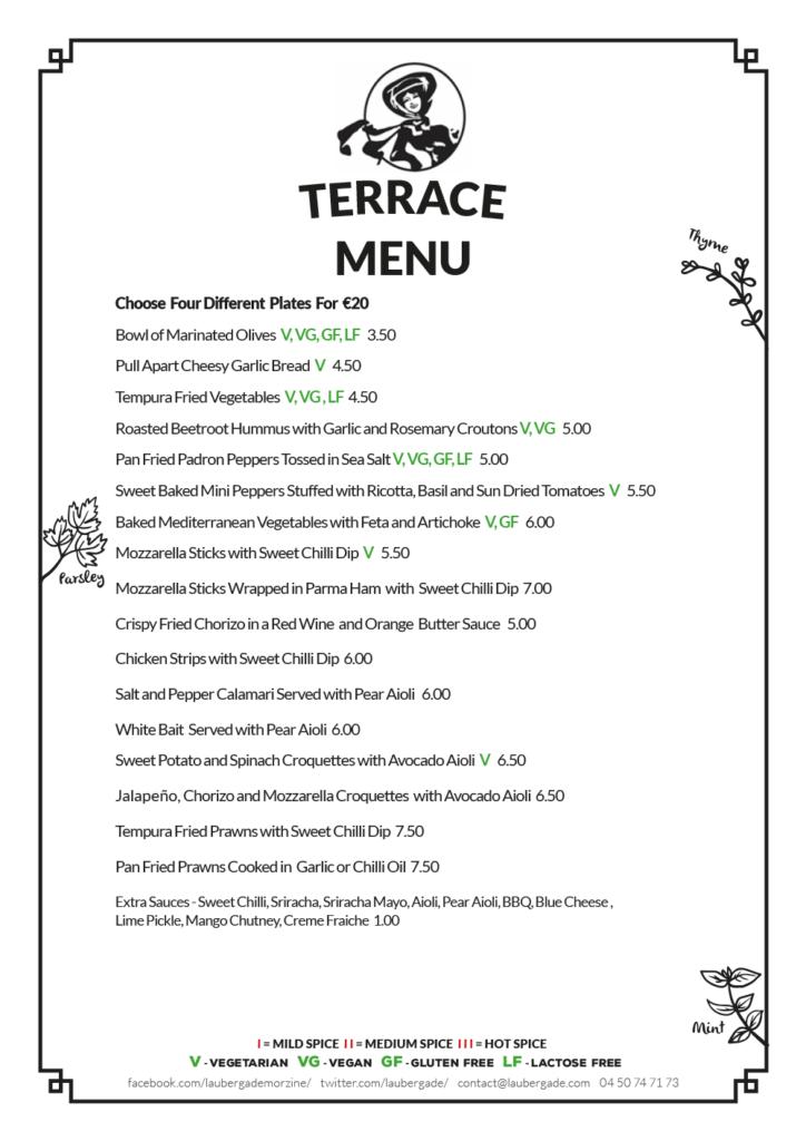 Terrace Menu (page 2)