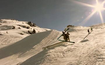 Mountain Mavericks Team member James Muir falling on a ski box in Meribel