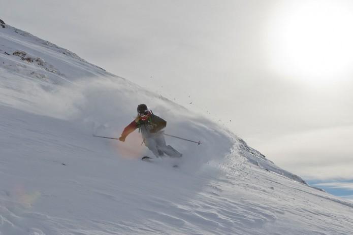 Tove Kockum riding powder in Avoriaz with Planks Clothing and Mountain Mavericks