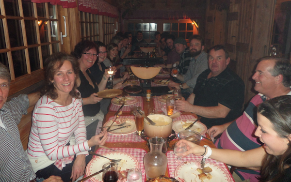 Cheesy feasts being enjoyed at the Crapahute in Morzine