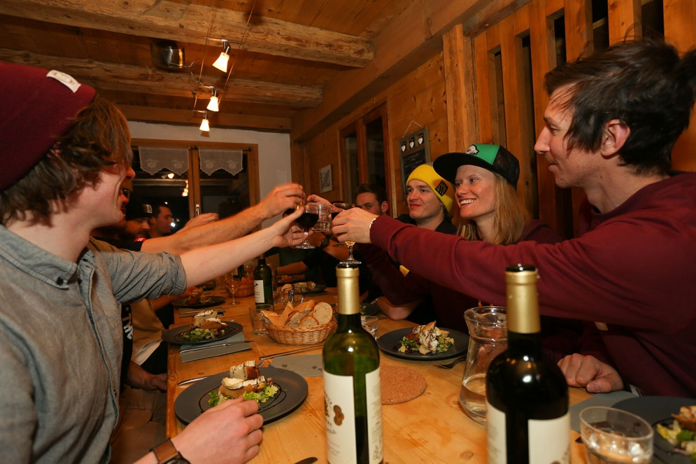 The Planks Clothing Pro Team enjoy 4 course suppers with wine with Mountain Mavericks in their Morzine Chalet L'Ateilier