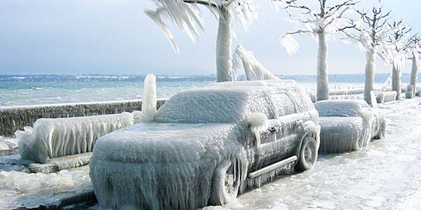 a very frozen car on east coast of america winter 2014