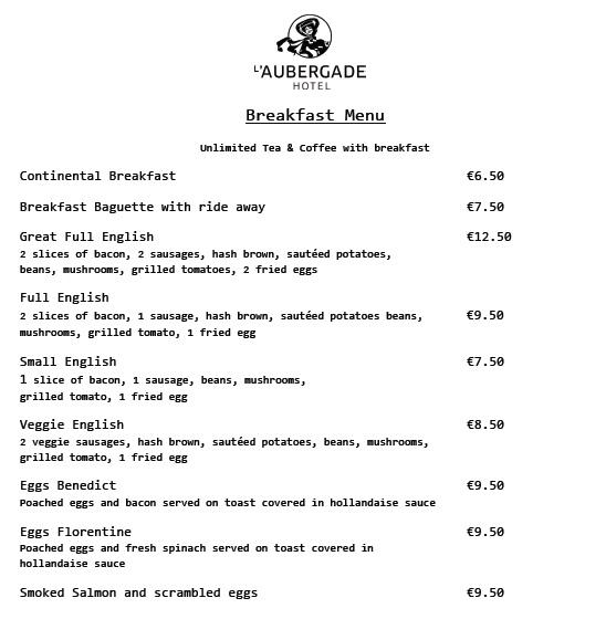 Hotel Laubergade Morzine Summer Breakfast Menu!