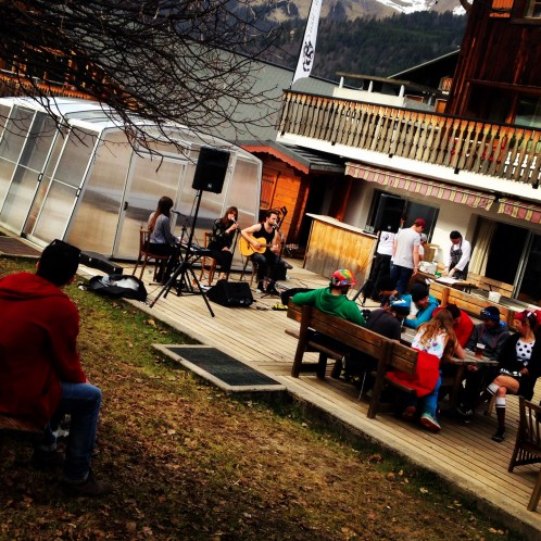 Live Acoustic Music in Morzine on L'Aubergade Hotels Terrace
