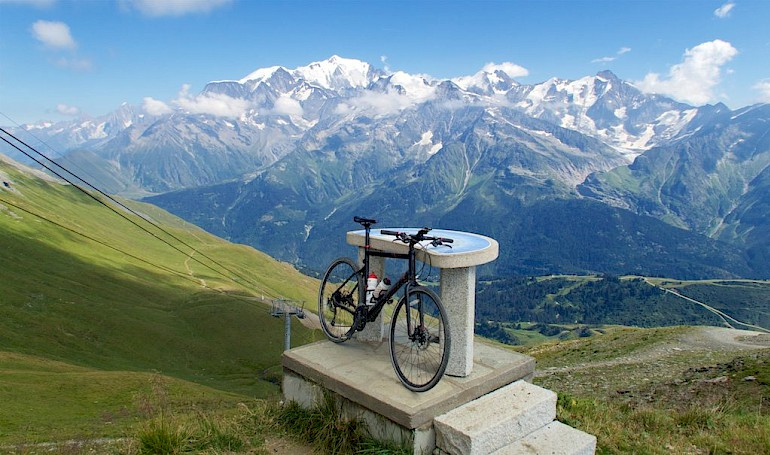 view of mont blanc on road bike tour