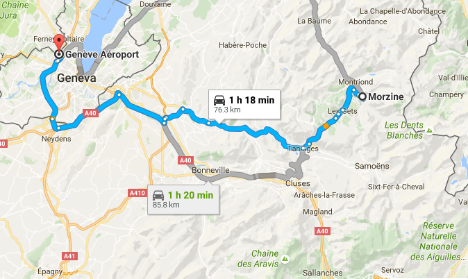 Morzine to Geneva Map. How long does it take to get to Morzine from Geneva airport