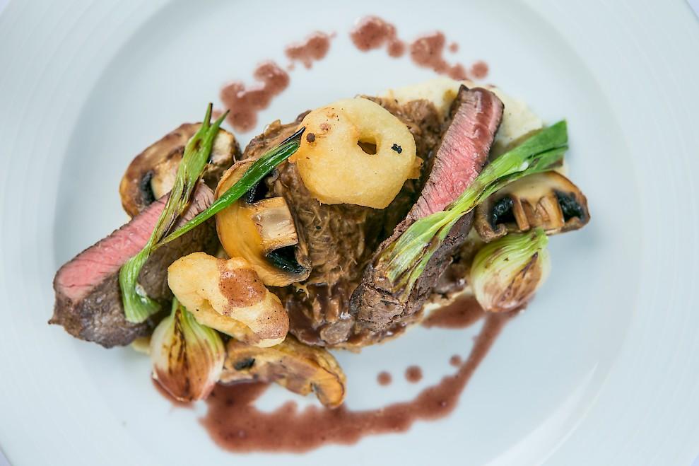 Beef main course in Chalet Chambertin, Morzine