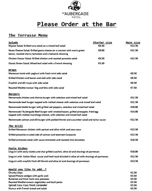 Hotel L'aubergade Morzine Summer menu