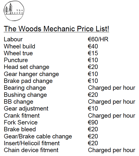 Hotel Laubergade Morzine & The Woods Bike Mechanic Price List