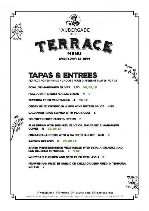 menu at L'aubergade